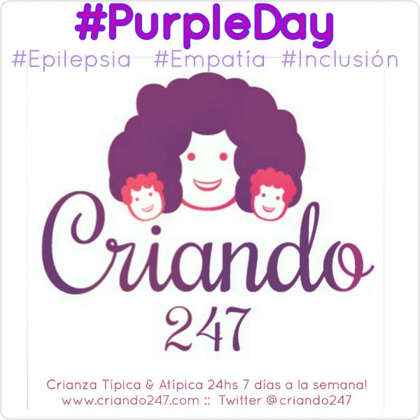 purple day epilepcia. logo de criando 24/7 color morado
