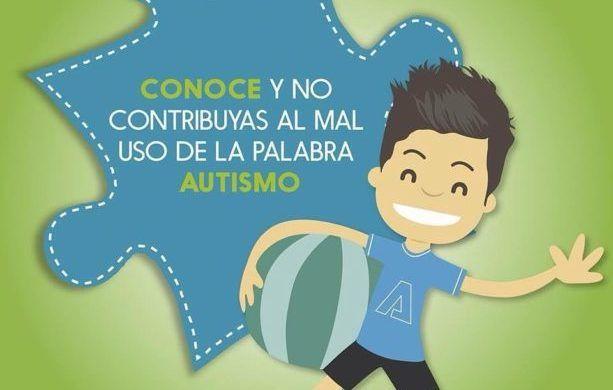"""imagen de liga autismo donde hay un dibujo de un niño con una pelota en la mano y el texto """"conoce y no contribuyas al mal uso de la palabra autismo"""""""
