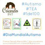 autismo TEA 1DE100 día mundial autismo Logo de Criando 24/7 y pictogramas