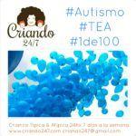 autismo 1de100 tea foto de globos azules volando. logo de criando 24/7