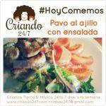 #RecetaFacil #HoyComemos Pavo al ajillo con ensalada