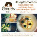 #RecetaFacil #HoyComemos Espaguetis de maíz con brócolis al vapor, queso de Burgos & AOVE
