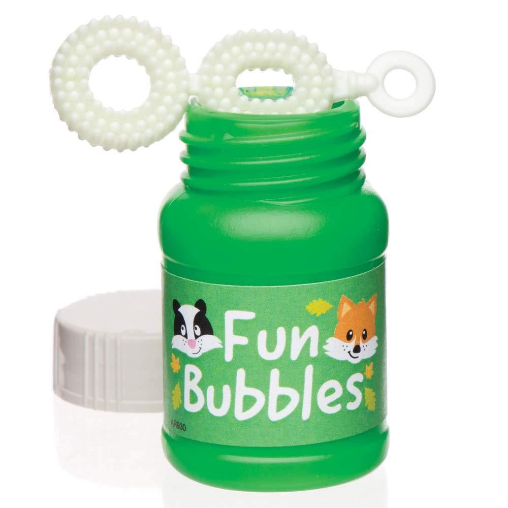 pompero verde con la pegatina fun bubbles y las caras de un zorrito y un zorrino