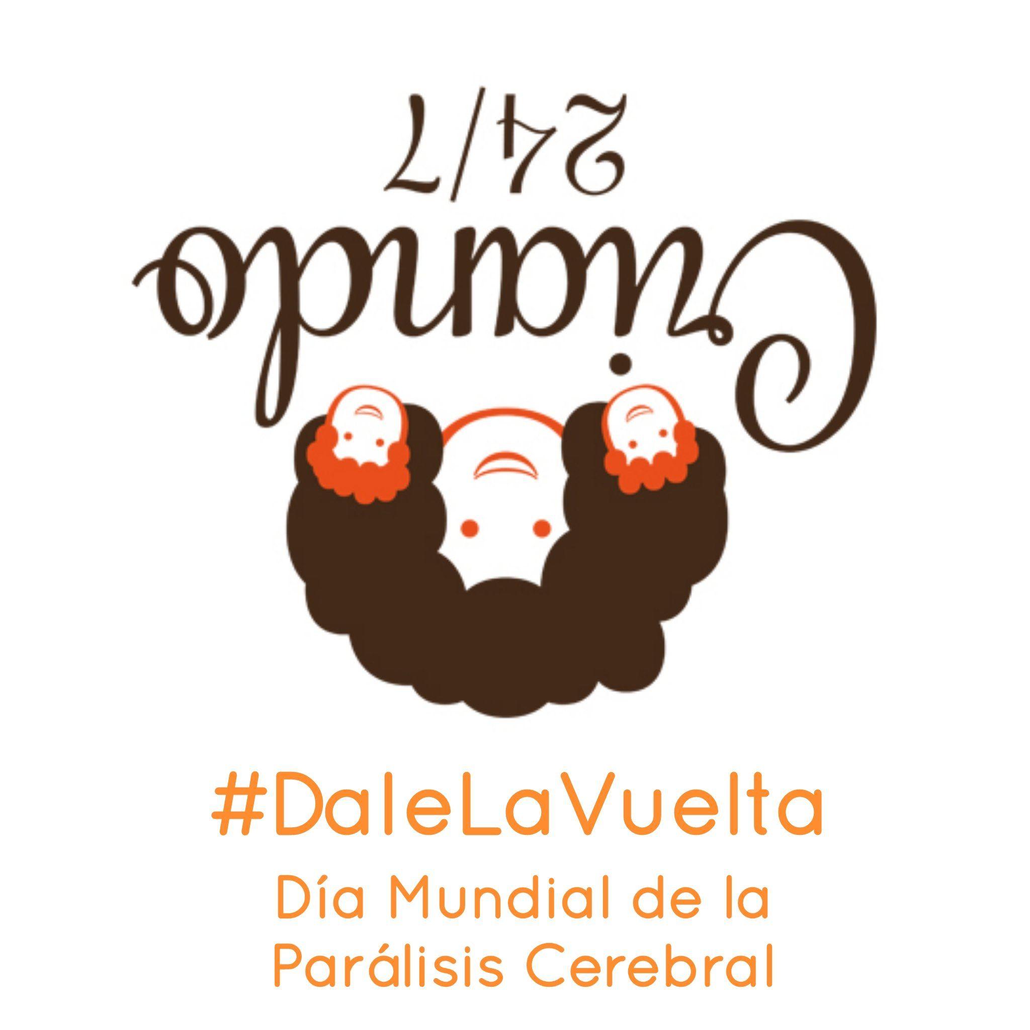 logo de Criando 24/7 girado con el hashtag #DaleLaVuelta Día mundial de la parálisis cerebral