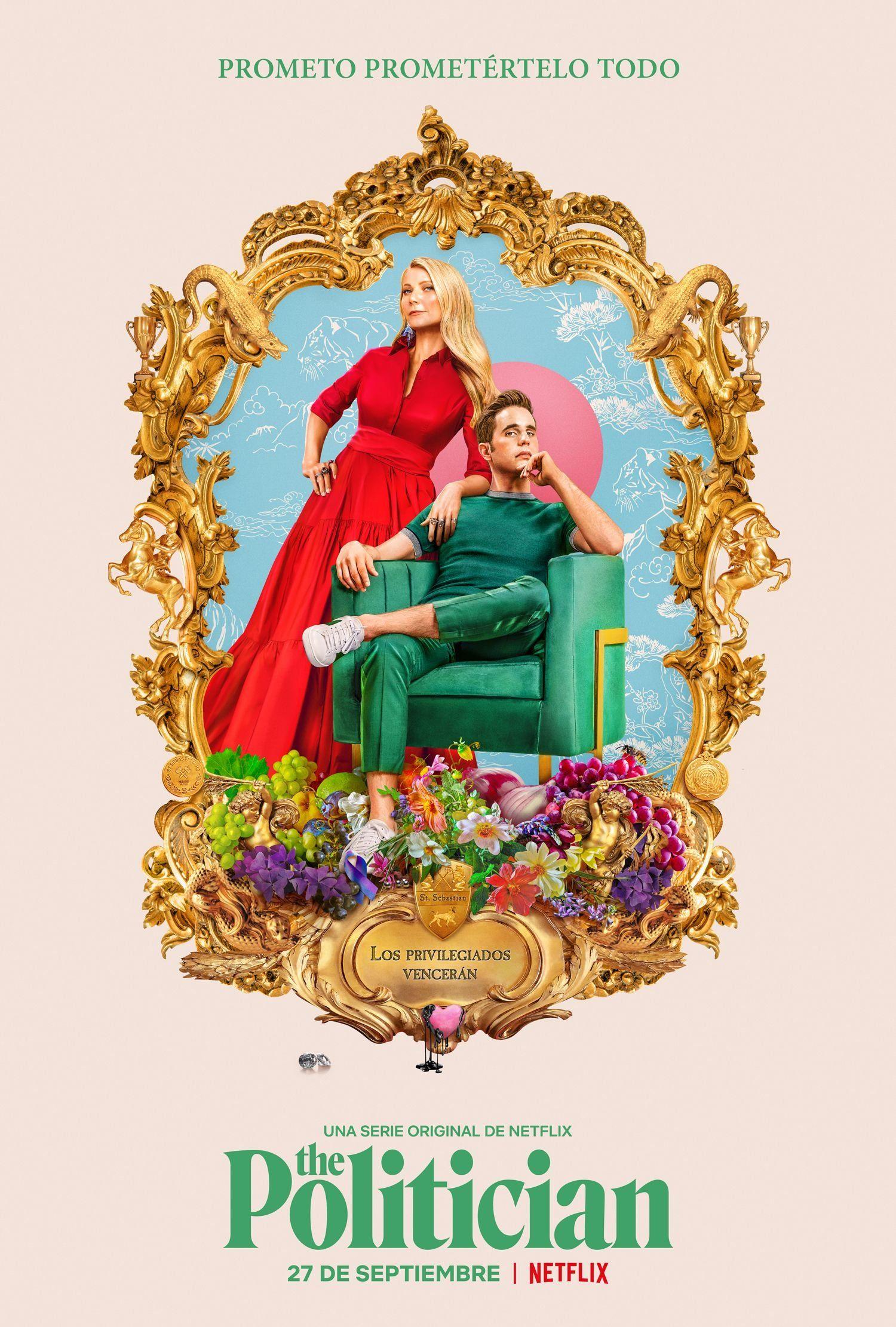 cartel de la serie de netflix The politician, donde se ve al protagonista sentado en un sofá y su madre de pie a su lado.
