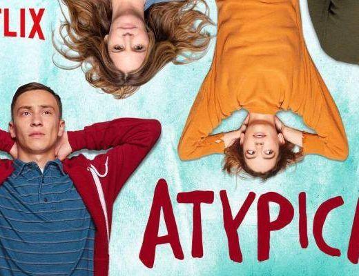 Cartel de la serie Atypical con sus 4 personajes tumbados