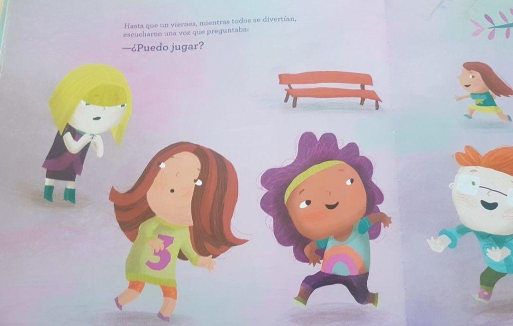 interior del cuento Hoy no juegas donde una niña pregunta un grupo de peques si puede jugar