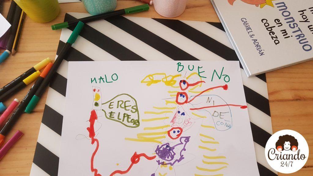 """dibujos de minstruo bueno y malo de mi hijo. el malo dice """"eres lo peor"""" el bueno responde """"ni de coña"""". logo de criando 24/7"""