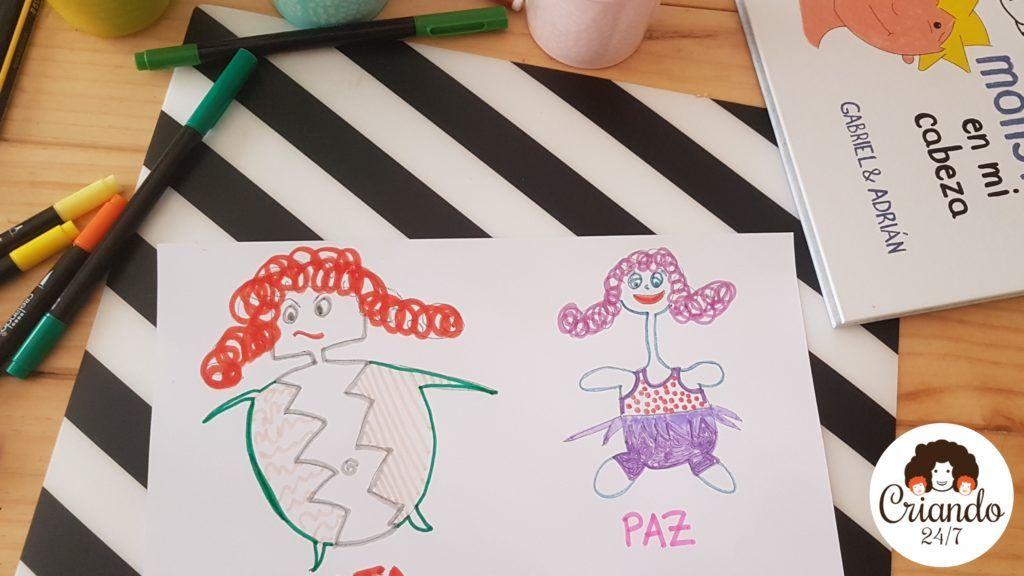 dibujo de un monstruo malo y un monstruo bueno, al lado del cuento mamá hay un monstruo en mi cabeza