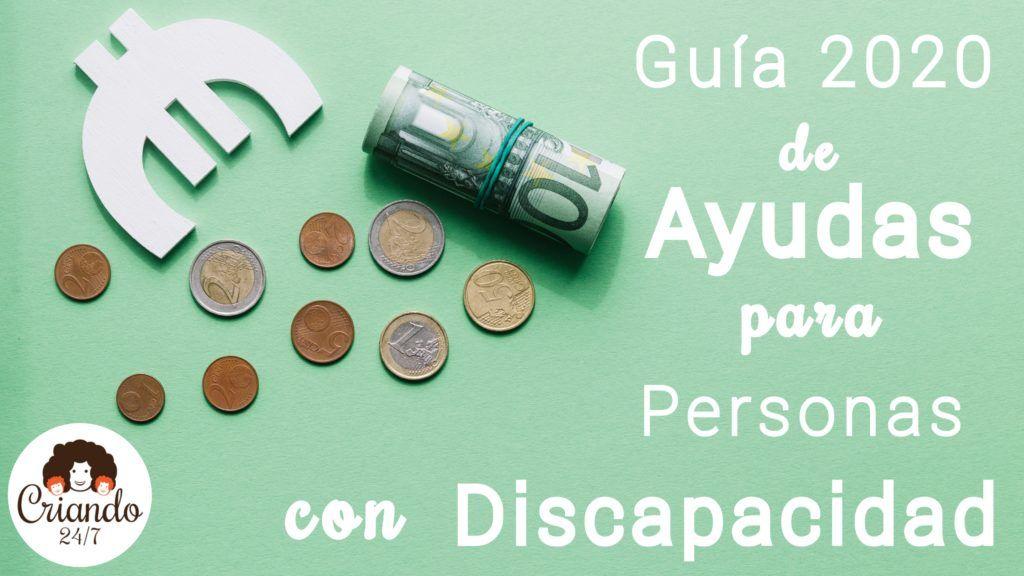 """imagen de un fajo de euros y varias monedas, un símbolo de euro en color blanco sobre fondo verde y la leyenda """"guía 2020 de ayudas para personas con discapacidad"""". Logo de Criando 24/7"""