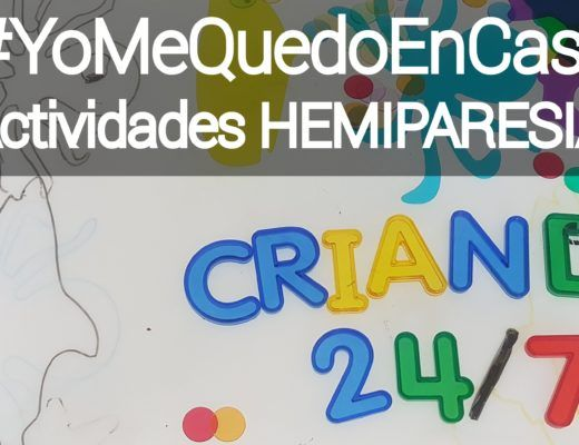 bandeja de luz con letras traslucidas que forman criando 24/7 , dibujos encima a rotulador y el texto #yomequedoencasa actividades hemiparesia