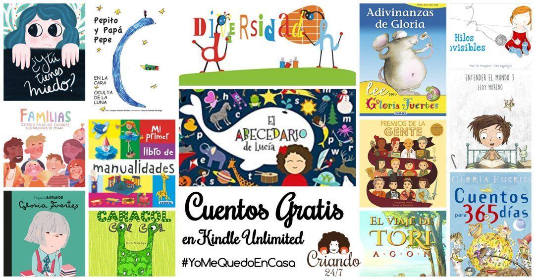 portadas de cuentos con el texto cuentos gratis en kindle unlimited #yomequedoencasa y logo criando 24/7