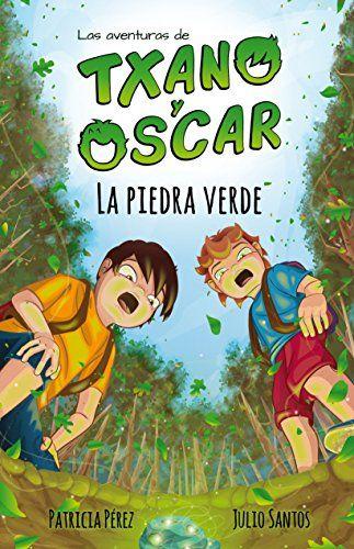 portada del cuento txano y oscar la piedra verde, donde se ve una ilustracion de dos niños en un bosque, mirando hacia el suelo sorprendidos.