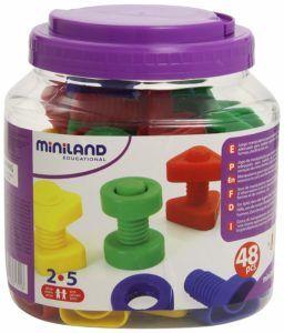 bote de plastico transparente de Miniland con tuercas y tornillos de plastico de colores