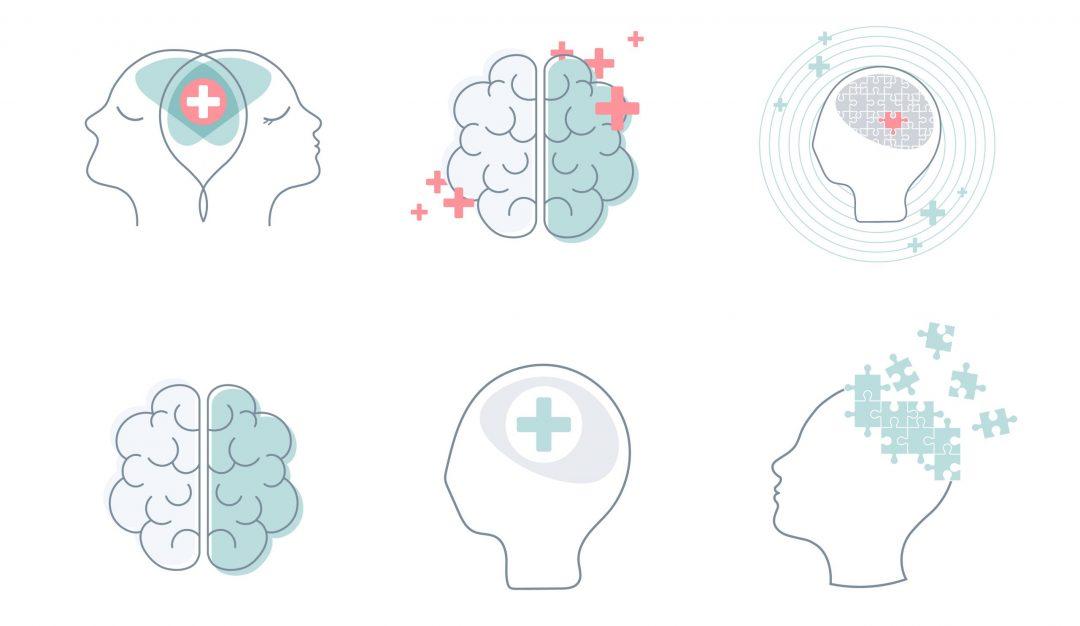 ilustraciones de cabezas y cerebros