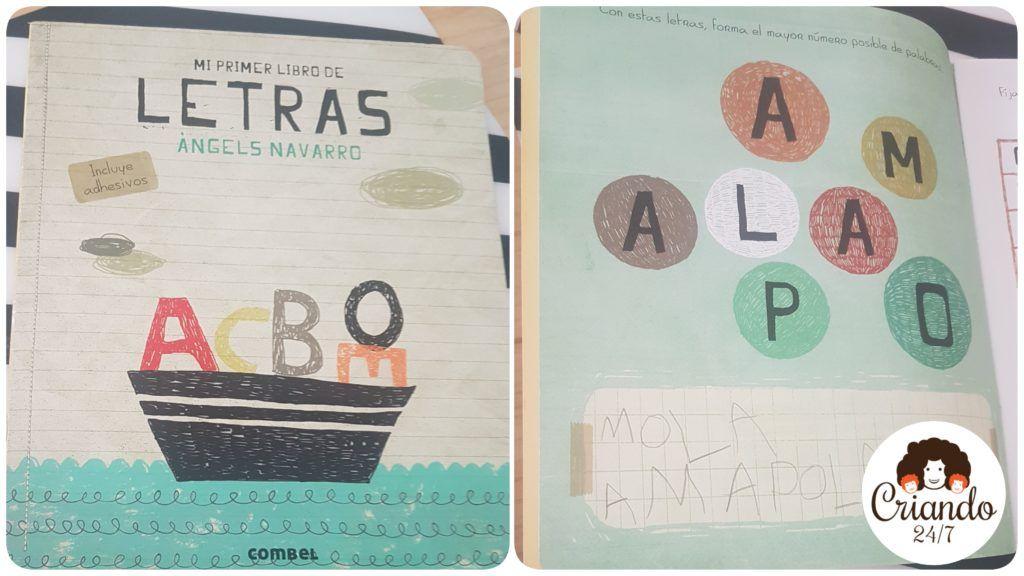 portada y hoja interior de Mi primer libro de letras de combel