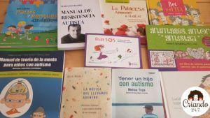 selección de libros sobre autismo incluidos en el post. logo de criando 24/7