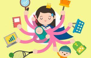 ilustración de una madre multitasking con varios brazos sosteniendo bebé, niño, escoba, espejo, cuaderno, movil, etc
