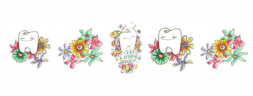 Logos de la odontóloga Carolina Jimenez Yuste con ilustraciones de muelas y flores