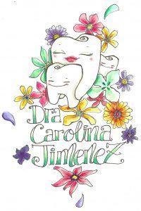 Logo de Carolina Jimenez Yuste, con una ilustración de una muela mayor sonriendo y otra pequeña, rodeadas de flores
