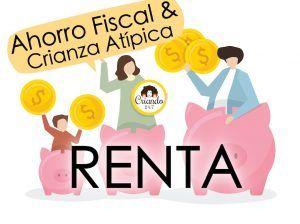 ilustracion de una familia con huchas de cerditos. texto: ahorro fiscal y crianza atípica. Renta. Logo de criando 24/7