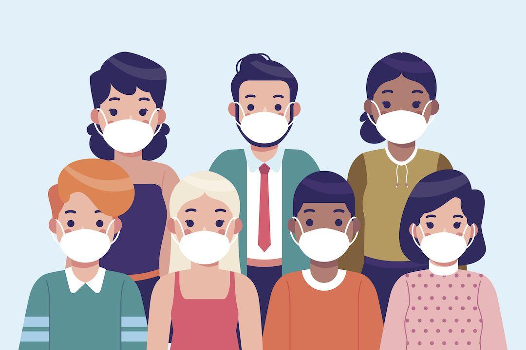 ilustración de un grupo de personas con mascarillas