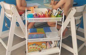 mis hijos sentados en sus tronas evolutivas de madera en el rincón de arte, al lado de un carro con material de pintura