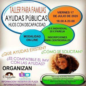 Cartel del Taller online de ayudas publicas para familias con hijos con discapacidad en Centro Iria impartido por Criando 24/7