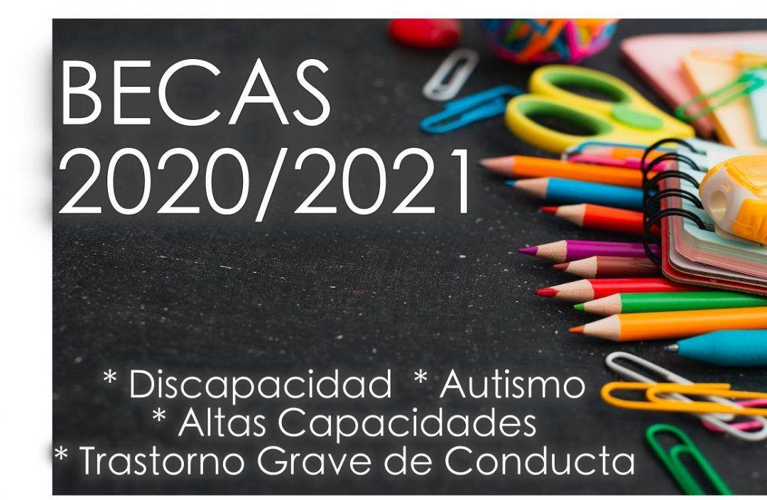 pizarra negra con materiales escolares de colores encima. Texto: Becas 2020/2021 discapacidad, altas capacidades, autismo, trastorno grave de conducta
