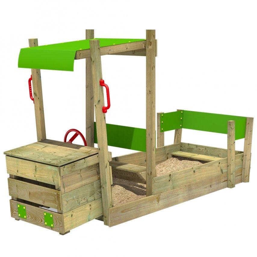arenero infantil de madera con forma de camión