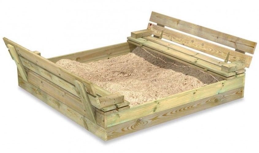 arenero infantil en forma de caja con tapa de madera de Wickey
