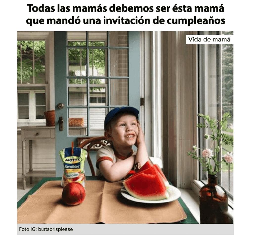 captura de pantalla de la noticia en Naran Xadul sobre una madre que invitó a un niño con autismo al cumpleaños de su hijo