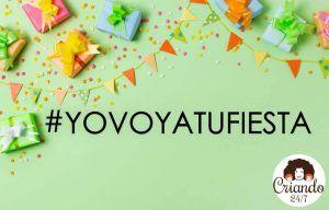 fondo verde con paquetes de regalo y banderines de colores. Texto: #yovoyatufiesta . logo de Criando 24/7