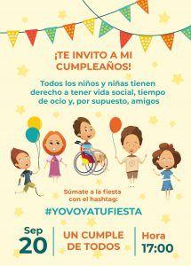 cartel de Cinco sentidos y medio. Invitación a la fiesta de cumpleaños, con ilustraciones de niños y niñas con globos y banderines.