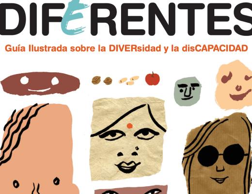 portada del cuento DIFERENTES sobre diversidad y discapacidad, con ilustraciones de rostros en formas y colores diversos
