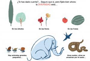 interior del cuento DIFERENTES donde se ilustra la diversidad de la naturaleza en plantas, frutas, animales