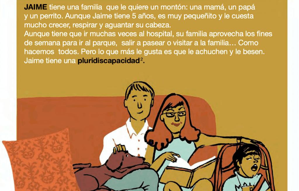 interior del cuento DIFERENTES donde se ve una madre, un padre y un niño con pluridiscapacidad