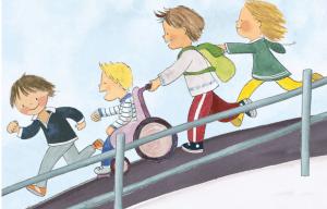 interior del cuento érase una vez un regalo derechos en parálisis cerebral, con ilustracion de varios niños corriendo rampa abajao, empujando a uno de elloos en silla de ruedas. todos sonríen