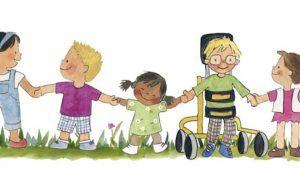 interior del cuento érase una vez un regalo derechos en parálisis cerebral, con ilustracion de varios niños de la mano