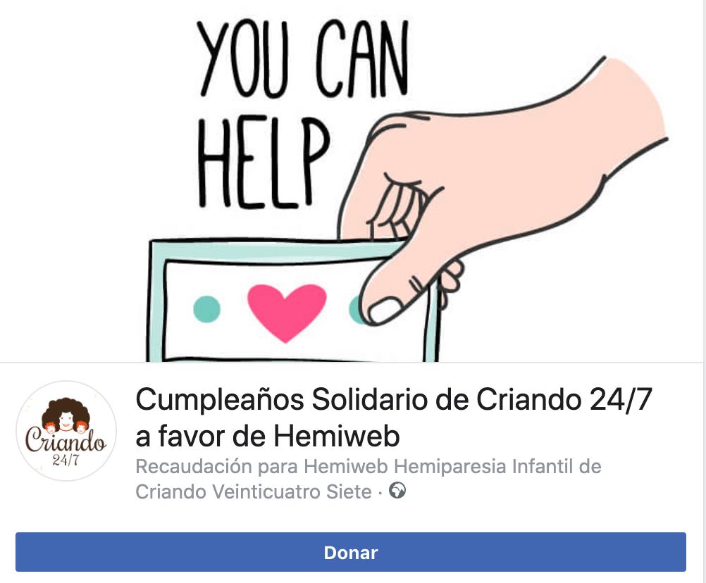 Cumpleaños Solidario criando 24/7 en facebook a favor de Hemiweb