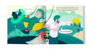 interior del cuento pole pole jmi camino junto a ti, donde se ve una ilustración de un padre columpiando a su niña