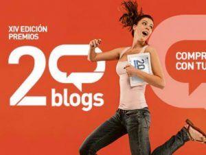 cartel de los Premios20blogs edición XIV con una chica saltando con gesto de victoria