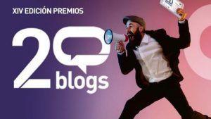 cartel de los premios 20 blogs con un chico gritando por un megáfono