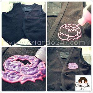 fotos de un chaleco negro mientras pinto una flor con pintura puffy rosa y morada