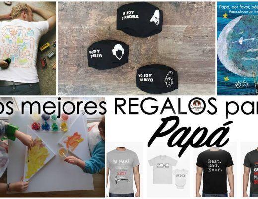 fotos de camisetas, mascarillas, libros y lienzos con el texto Los mejores regalos para papá y logo de Criando 24/7