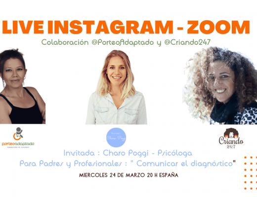 Live Instagram de @porteoadaptado @psico_charopoggi y @criando247 el 24 de marzo 2021 a las 20 hs sobre Comunicar el diagnóstico. Fotos y logos de las tres.