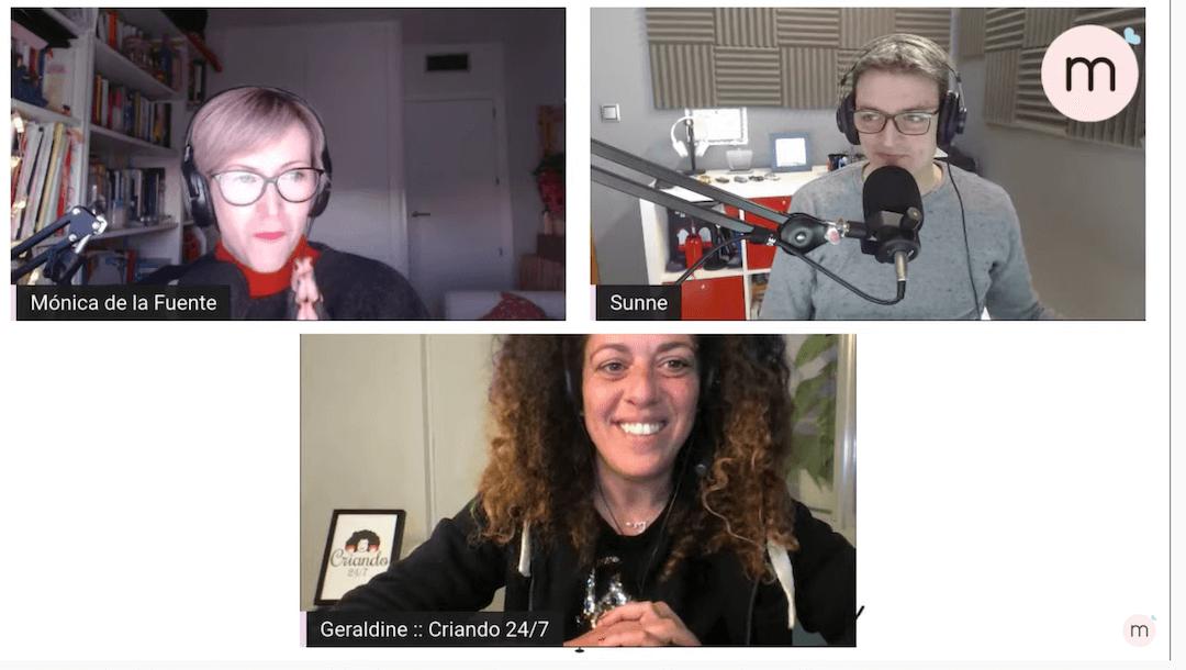 pantallazo del podcast Buenos días madresfera donde se ve a Mónica, Sunne y Geraldine