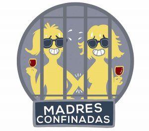 logo de Madres Confinadas, donde se ve una ilustracion de dos mujeres con risa forzada, una copa de vino en mano, detrás de unos barrotes de carcel