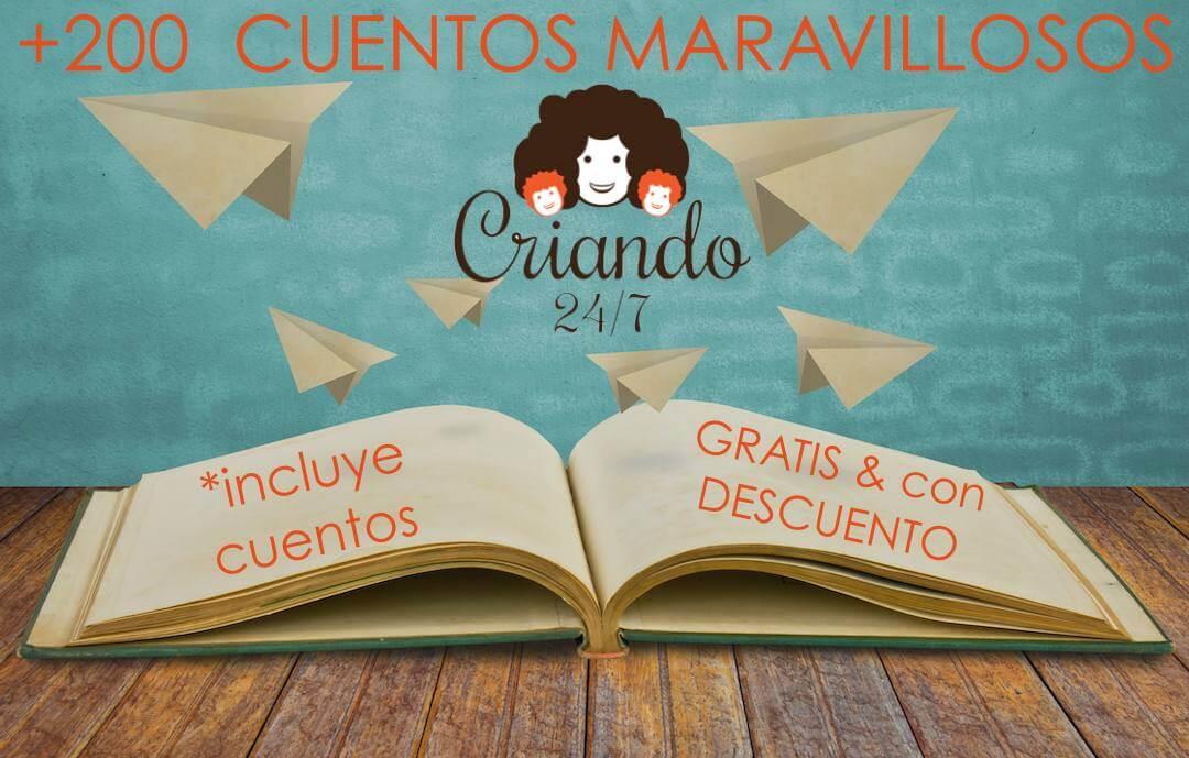 ilustracion de un libro abierto y aviones de papel volando. Texto +200 cuentos maravillosos (logo de Criando 24/7) *incluye cuentos gratis y con descuento