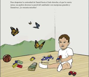 interior del cuento descubriendo el mundo con Daniel. Se ve una ilustracion de un niño pequeño, sentado en el suelo rodeado de juguetes y unas mariposas pintadas en la pared del dormitorio.